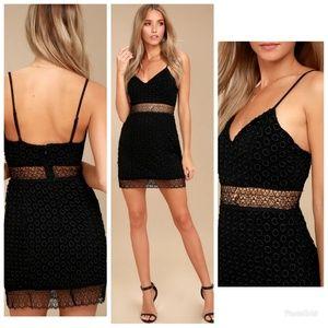 NBD Brielle Black Crochet Lace Bodycon Dress